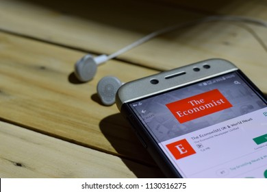 BEKASI, WEST JAVA, INDONESIA. JULY 09, 2018 : The Economist: UK & World news application on Smartphone screen. The Economist is a freeware web browser developed by The Economist Newspaper Limited