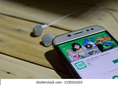 BEKASI, WEST JAVA, INDONESIA. JULY 09, 2018 : LINE WEBTOON - Free Comics dev application on Smartphone screen. LINE WEBTOON is a freeware web browser developed by NAVER WEBTOON CORP
