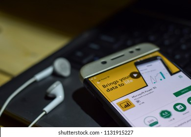 BEKASI, WEST JAVA, INDONESIA. JULY 11, 2018 : Microsoft Power BI application on Smartphone screen. Microsoft Power BI is a freeware web browser developed by Microsoft Corporation