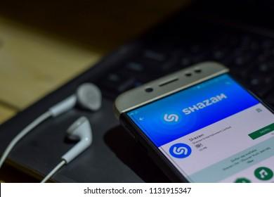 BEKASI, WEST JAVA, INDONESIA. JULY 11, 2018 : Shazam application on Smartphone screen. Shazam is a freeware web browser developed by Shazam Entertainment Limited