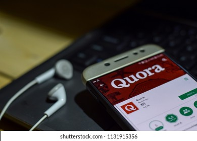 BEKASI, WEST JAVA, INDONESIA. JULY 11, 2018 : Quora application on Smartphone screen. Quora is a freeware web browser developed by Quora. Inc