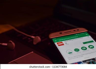 BEKASI, WEST JAVA, INDONESIA. JULY 16, 2018 : CNN Breaking US & World News on Smartphone screen. CNN is a freeware web browser developed by CNN