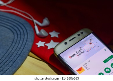 BEKASI, WEST JAVA, INDONESIA. JULY 26, 2018 : Yandex.Mail App on Smartphone screen. Yandex.Mail is a freeware web browser developed by Яндекс