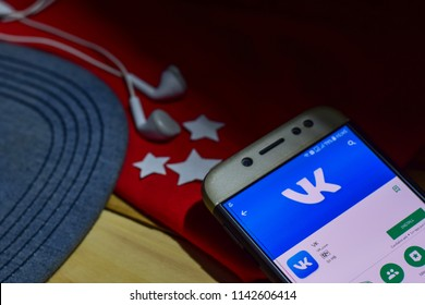 BEKASI, WEST JAVA, INDONESIA. JULY 26, 2018 : VK App on Smartphone screen. VK is a freeware web browser developed by VK.com