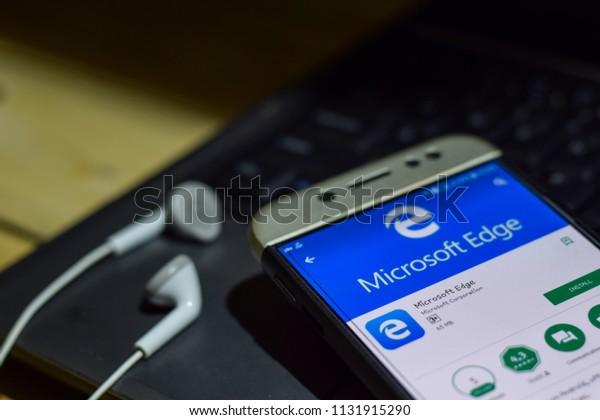 BEKASI, WEST JAVA, INDONESIA. JULY 11, 2018 : Microsoft Edge application on Smartphone screen. Microsoft Edge is a freeware web browser developed by Microsoft Corporation