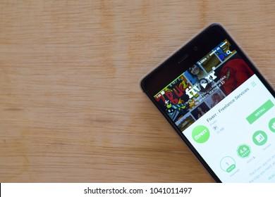 BEKASI, WEST JAVA, INDONESIA. MARCH 8, 2018 : Fiverr - Freelance Services dev application on Smartphone screen. Fiverr - Freelance Services is a freeware web browser developed by Fiverr