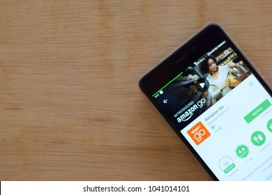 BEKASI, WEST JAVA, INDONESIA. MARCH 8, 2018 : Amazon GO dev application on Smartphone screen. Amazon GO is a freeware web browser developed by Amazon Mobile LLC