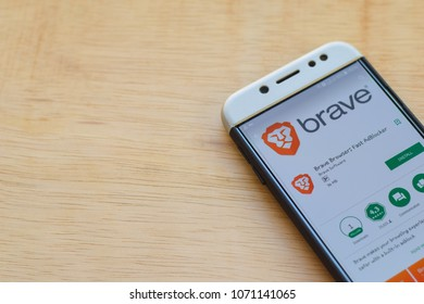 BEKASI, WEST JAVA, INDONESIA. MARCH 18, 2018 : Brave Browser: Fast AdBLocker dev application on Smartphone screen. Brave Browser is a freeware web browser developed by Brave Software