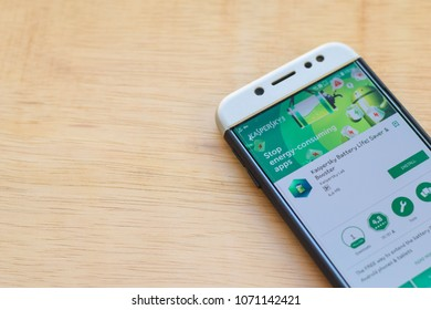 BEKASI, WEST JAVA, INDONESIA. MARCH 18, 2018 : Kaspersky Battery Life: Saver & Booster dev application on Smartphone screen. Kaspersky is a freeware web browser developed by Kaspersky Lab