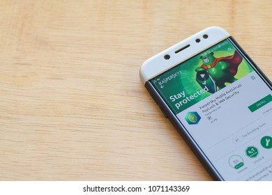 BEKASI, WEST JAVA, INDONESIA. MARCH 18, 2018 : Kaspersky Mobile Antivirus: Applock & Web Security dev application on Smartphone screen. Kaspersky is a freeware web browser developed by Kaspersky Lab