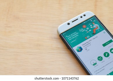 BEKASI, WEST JAVA, INDONESIA. MARCH 18, 2018 : Kaspersky VPN - Secure Connection dev application on Smartphone screen. Kaspersky is a freeware web browser developed by Kaspersky Lab