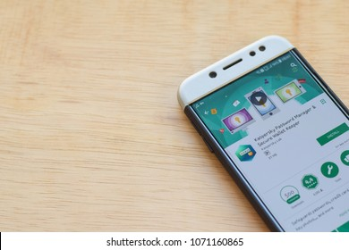 BEKASI, WEST JAVA, INDONESIA. MARCH 18, 2018 : Kaspersky Password Manager & Secure Wallet Keeper dev application on Smartphone screen. Kaspersky is a freeware web browser developed by Kaspersky Lab