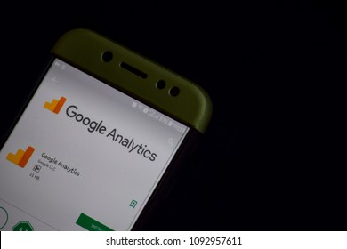 BEKASI, WEST JAVA, INDONESIA. MAY 18, 2018 : Google Analytics dev application on Smartphone screen. Google Analytics is a freeware web browser developed by Google LLC