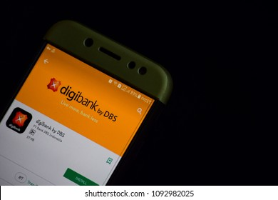 BEKASI, WEST JAVA, INDONESIA. MAY 18, 2018 : Digibank by DBS dev application on Smartphone screen. Digibank by DBS is a freeware web browser developed by PT. Bank DBS Indonesia