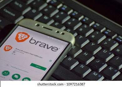 BEKASI, WEST JAVA, INDONESIA. MAY 23, 2018 : Brave Browser: Fast AdBlocker dev application on Smartphone screen. Brave Browser: Fast AdBlocker is a freeware web browser developed by Brave Software