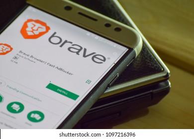 BEKASI, WEST JAVA, INDONESIA. MAY 23, 2018 : Brave Browser: Fast AdBlocker dev application on Smartphone screen. Brave Browser: Fast AdBlocker is a freeware web browser developed by Brave Software