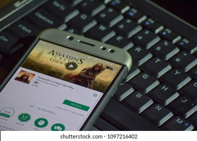 BEKASI, WEST JAVA, INDONESIA. MAY 23, 2018 : Assasin's Creed Identity dev application on Smartphone screen. Zoetropic - Assasin's Creed is a freeware web browser developed by Ubisoft Entertainment