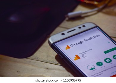 BEKASI, WEST JAVA, INDONESIA. MAY 30, 2018 : Google Analytics dev application on Smartphone screen. Google Analytics is a freeware web browser developed by Google LLC