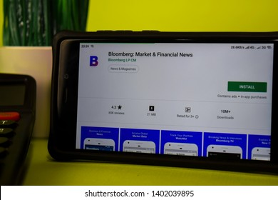 BEKASI, WEST JAVA, INDONESIA. MAY 20, 2019 : Bloomberg: Market & Financial News dev application on Smartphone screen. Bloomberg is a freeware web browser developed by Bloomberg LP CM