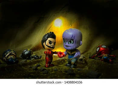 Bekasi, West Java, Indonesia, May 26, 2019. The Avengers and Thanos are carrying out a reconstruction of the scene in the film End Game, when Iron Man is trying to grab the Gauntlet Infinity Stones fr