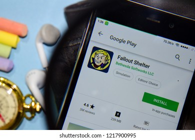 BEKASI, WEST JAVA, INDONESIA. NOVEMBER 1, 2018 : Fallout Shelter dev app with magnifying on Smartphone screen. Fallout Shelter is a freeware web browser developed by Bethesda Softworks LLC