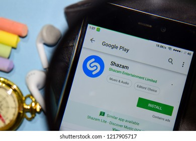 BEKASI, WEST JAVA, INDONESIA. NOVEMBER 1, 2018 : Shazam dev app with magnifying on Smartphone screen. Shazam is a freeware web browser developed by Shazam EEntertainment Limited