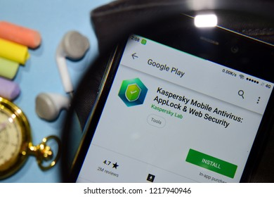 BEKASI, WEST JAVA, INDONESIA. NOVEMBER 1, 2018 : Kaspersky Mobile Antivirus: AppLock & Web Security dev app with magnifying on Smartphone screen. is a freeware web browser developed by Kasperksy