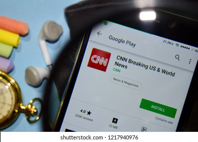 BEKASI, WEST JAVA, INDONESIA. NOVEMBER 1, 2018 : CNN Breaking US & World News dev app with magnifying on Smartphone screen. World News is a freeware web browser developed by CNN