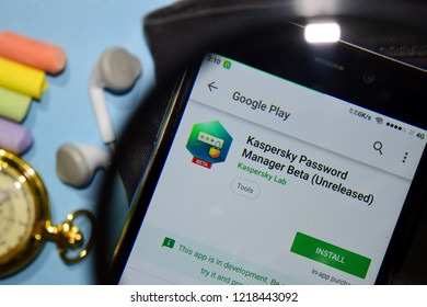 BEKASI, WEST JAVA, INDONESIA. NOVEMBER 1, 2018 : Kaspersky Password Manager Beta (Unreleased) dev app with magnifying on Smartphone screen. is a freeware web browser developed by Kaspersky Lab