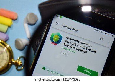 BEKASI, WEST JAVA, INDONESIA. NOVEMBER 1, 2018 : Kaspersky Antivirus AppLock & Web Security Beta dev app with magnifying on Smartphone screen. is a freeware web browser developed by Kaspersky Lab