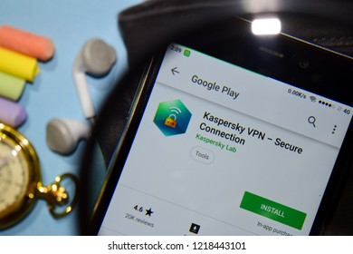 BEKASI, WEST JAVA, INDONESIA. NOVEMBER 1, 2018 : Kaspersky VPN - Secure Connection dev app with magnifying on Smartphone screen. VPN is a freeware web browser developed by Kaspersky Lab