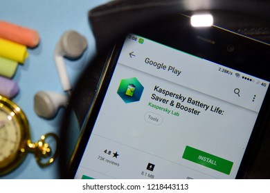 BEKASI, WEST JAVA, INDONESIA. NOVEMBER 1, 2018 : Kaspersky Battery Life: Saver & Booster dev app with magnifying on Smartphone screen. Battery Life is a freeware web browser developed by Kaspersky Lab