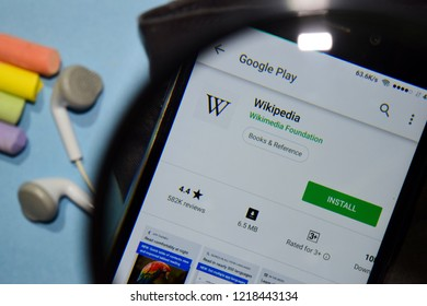BEKASI, WEST JAVA, INDONESIA. NOVEMBER 1, 2018 : Wikipedia dev app with magnifying on Smartphone screen. Wikipedia is a freeware web browser developed by Wikimedia Foundation