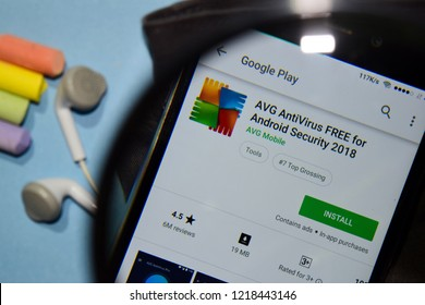 BEKASI, WEST JAVA, INDONESIA. NOVEMBER 1, 2018 : AVG AntiVirus FREE for Android Security 2018 dev app with magnifying on Smartphone screen. AntiVirus is a freeware web browser developed by AVG Mobile