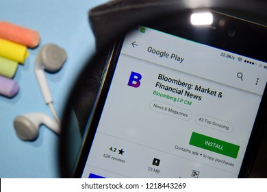 BEKASI, WEST JAVA, INDONESIA. NOVEMBER 1, 2018 : Bloomberg: Market & Financial News dev app with magnifying on Smartphone screen. Financial News is a freeware web browser developed by Bloomberg LP CM