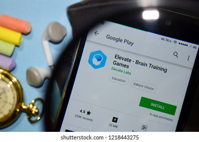 BEKASI, WEST JAVA, INDONESIA. NOVEMBER 1, 2018 : Elevate - Brain Training Games dev app with magnifying on Smartphone screen. Elevate is a freeware web browser developed by Elevate Labs