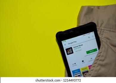 BEKASI, WEST JAVA, INDONESIA. OCTOBER 28, 2018 : Deezer Music dev application on Smartphone screen. Deezer Music is a freeware web browser developed by Deezer Music Mobile