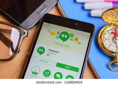 BEKASI, WEST JAVA, INDONESIA. SEPTEMBER 1, 2018 : Hangouts dev application on Smartphone screen. Hangouts is a freeware web browser developed by Google LLC