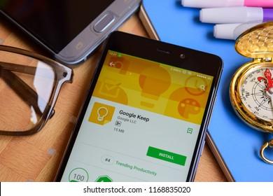 BEKASI, WEST JAVA, INDONESIA. SEPTEMBER 1, 2018 : Google Keep dev application on Smartphone screen. Google Keep is a freeware web browser developed by Google LLC