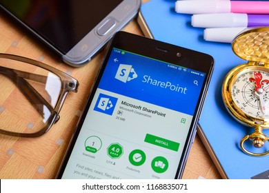 BEKASI, WEST JAVA, INDONESIA. SEPTEMBER 1, 2018 : Microsoft SharePoint dev application on Smartphone screen. Microsoft SharePoint is a freeware web browser developed by Microsoft Corporation