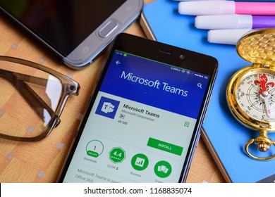 BEKASI, WEST JAVA, INDONESIA. SEPTEMBER 1, 2018 : Microsoft Teams dev application on Smartphone screen. Microsoft Teams is a freeware web browser developed by Microsoft Corporation