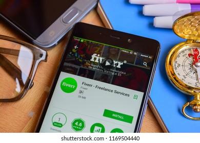 BEKASI, WEST JAVA, INDONESIA. SEPTEMBER 2, 2018 : Fiverr - Freelance Services dev application on Smartphone screen. Fiverr is a freeware web browser developed by Fiverr