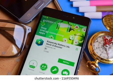 BEKASI, WEST JAVA, INDONESIA. SEPTEMBER 2, 2018 : Kaspersky Battery Life: Saver & Booster dev app on Smartphone screen. Kaspersky Battery Life is a freeware web browser developed by Kaspersky Lab
