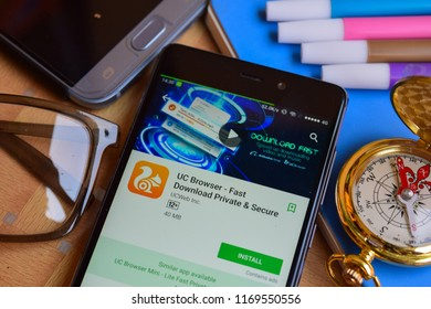 BEKASI, WEST JAVA, INDONESIA. SEPTEMBER 2, 2018 : UC Browser - Fast Download Private & Secure dev app on Smartphone screen. UC Browser is a freeware web browser developed by UCWeb Inc
