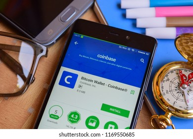BEKASI, WEST JAVA, INDONESIA. SEPTEMBER 2, 2018 : Bitcoin Wallet - Coinbase dev app on Smartphone screen. Bitcoin Wallet is a freeware web browser developed by Coinbase Inc
