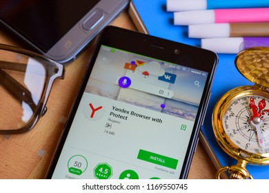 BEKASI, WEST JAVA, INDONESIA. SEPTEMBER 2, 2018 : Yandex Browser with Protect dev app on Smartphone screen. Yandex is a freeware web browser developed by Яндекс