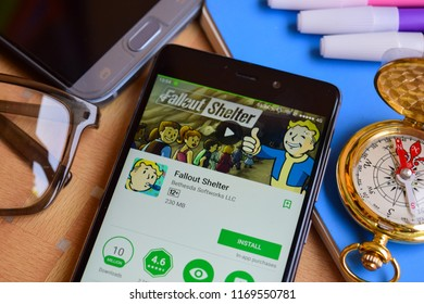 BEKASI, WEST JAVA, INDONESIA. SEPTEMBER 2, 2018 : Fallout Shelter dev application on Smartphone screen. Fallout Shelter is a freeware web browser developed by Bethesda Softworks LLC