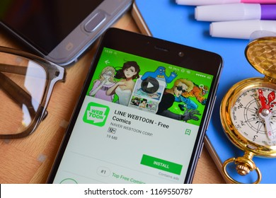 BEKASI, WEST JAVA, INDONESIA. SEPTEMBER 2, 2018 : LINE WEBTOON - Free Comics dev application on Smartphone screen. LINE WEBTOON is a freeware web browser developed by NAVER WEBTOON CORP