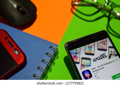BEKASI, WEST JAVA, INDONESIA. SEPTEMBER 12, 2018 : Walli - 4K, HD Wallpapers & Backgrounds dev app on Smartphone screen. Walli - 4K is a freeware web browser developed by Shanga