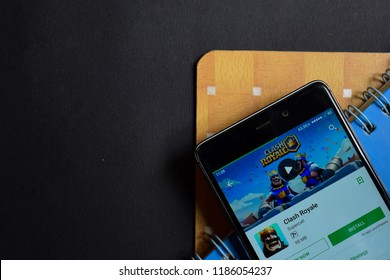 BEKASI, WEST JAVA, INDONESIA. SEPTEMBER 23, 2018 : Clash Royale dev app on Smartphone screen. Clash Royale is a freeware web browser developed by Supercell
